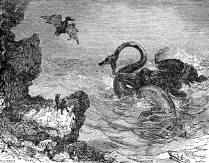 "An ilustration from the novel ""Journey to the Center of the Earth"" by Jules Verne painted by Édouard Riou."