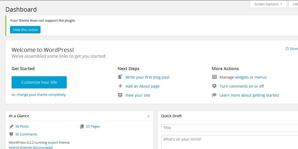 Unser Admin Notice im WordPress Dashboard