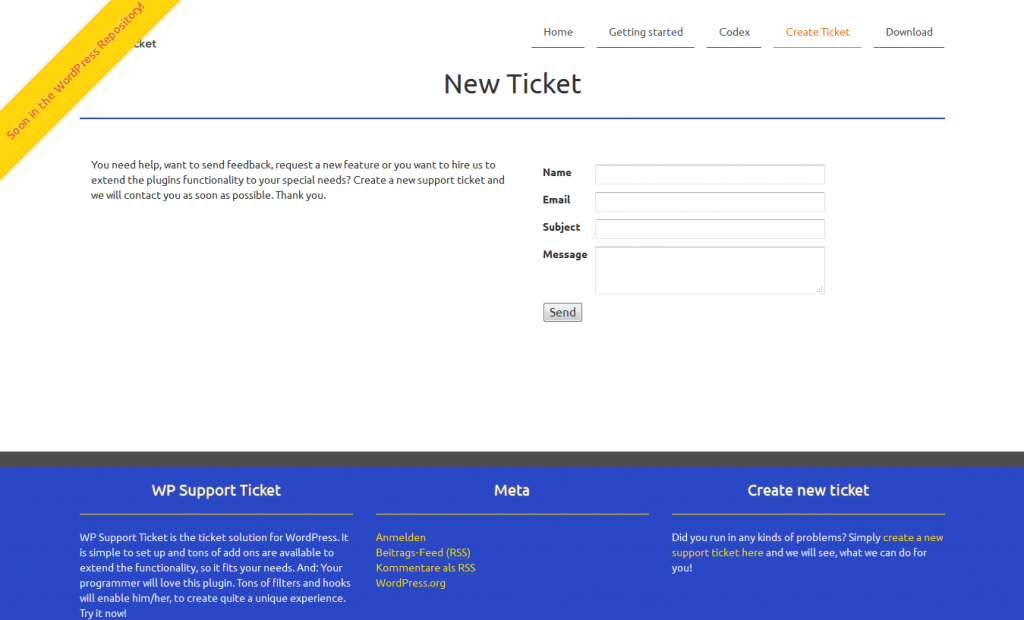 Create a new ticket in the frontend