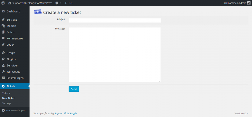 Create a new ticket in the backend